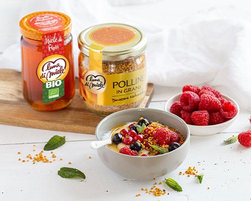 Yogurt vegetale con Miele di Fiori biologico e Polline in grani Luna di Miele®